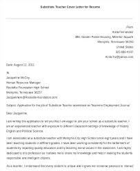Cover Letter Sample Teacher Substitute Letters Teaching Resume For