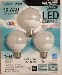 feit 8 watt led g25 light bulbs 3 pack equiv to 40 watts 2700k