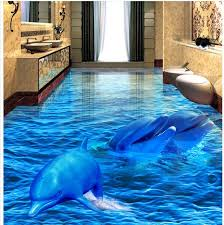 3d pvc floor wallpaper dolphin sea world 3d bathroom living room