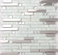 silver stainless steel mixed clear glass mosaic tiles for