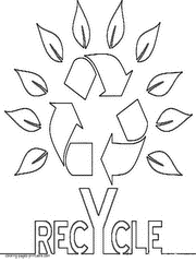 Recycling Symbol As A Tree Coloring Page