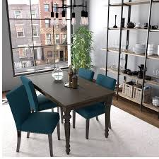 Handy Living Brisbane Caribbean Blue Linen Upholstered Dining Chairs Set Of 4