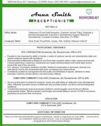 31 Best Resume Examples 2016 Equipped Receptionist Example Cooperative With Medium Image
