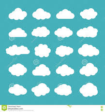 100 Flat Cloud Set Of S Icons Shapes Collection Stock