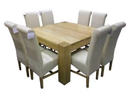 Small Custom DIY Square Wood Dining Room Table Design With White Leather Seats 8 High Back And Low Legs Ideas