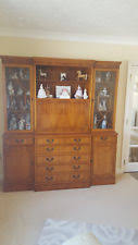 Yew Furniture Wall Unit Display Cabinet Drinks Dining Room Lounge