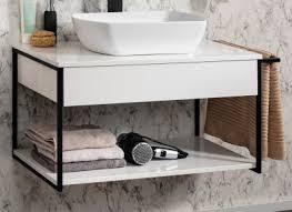 fackelmann new york badmöbel set 2 teilig 88 cm breit weiß keramik