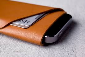 Leather Wallet Sleeve for iPhone SE Tan Mujjo