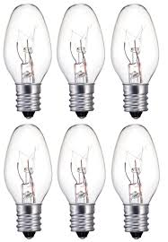 6 bulbs clear light bulb c7 candelabra base 5 watt
