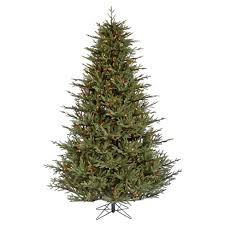 75ft Pre Lit LED Artificial Christmas Tree Full Black Fir
