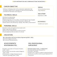 Best One Page Resume Template Philippines Sample Format For