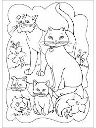 Family Of Cats Coloring Page