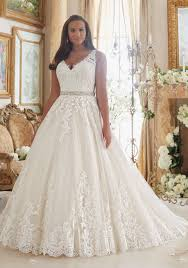 lace on tulle ball gown plus size wedding dress style 3208 morilee