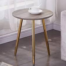 goldfan beistelltisch rund holz moderner klein couchtisch nachttisch mit metallbeinen für wohnzimmer schlafzimmer gold