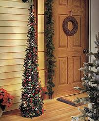 Affordable Collapsible 65quot Lighted Christmas Trees In Green Red For Small Spaces With