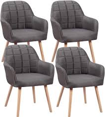 4er set esszimmerstühle mit armlehne grau esszimmerstühle