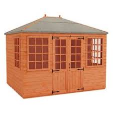 10ft x 10ft quality red wood hand painted summerhouse product