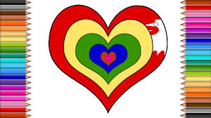 How To Draw Heart Shape And Coloring For Kids Baby