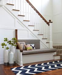 Foyer Bench In Beach Style Entry With Carpet Runners For Stairs And Dining Chair Cushions Plus