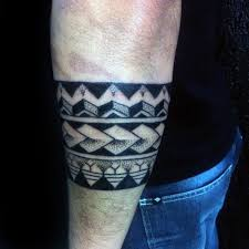 Awesome Mens Polynesian Dotwork Tribal Armband Tattoo Ideas