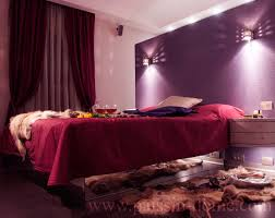 Purple Accent Walls Bedroom Modern With Wall Light Night Stand