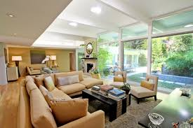 Living Room Ideas Brown Leather Sofa by L Shaped Brown Leather Sofa With Cushions Also Black Wooden Table