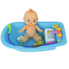 Plastic Baby Doll In Bath Tub With Shower Bath Accessories Set Kids
