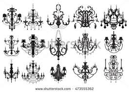 Classic Chandelier Set Collection Luxury Decor Accessory Design Vector Illustration Sketch