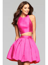 pink satin two pieces jewel homecoming cocktail prom dresses 2402091