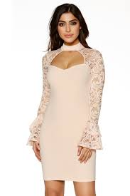 lace frill long sleeve bodycon dress quiz clothing