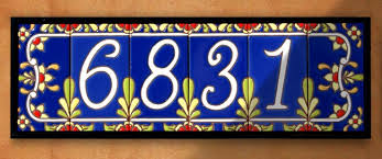 house numbers 3 x 6 ceramic address tile cobalt talavera per