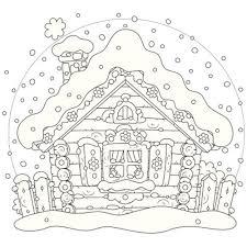 la maison enneigée en coloriage de noël à imprimer magicmaman