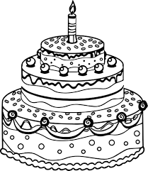 Birthday Cake Coloring Page Printable Coloring Image