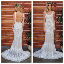 cecilia lace bohemian wedding dress cotton lace with open