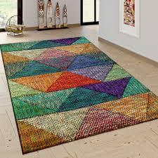 wohnzimmer teppich moderne rauten muster bunt