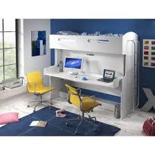 bureau superposé lit combiné superposé escamotable 90x200 avec espace de bureau