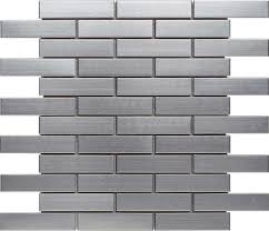 stainless steel subway metal mosaic tile 1x4 mineral tiles