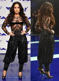 At The MTV Video Music Awards In August 2017 Demi Lovato Wore A Completely Sheer Bodysuit Tucked Into Harem Style Pants