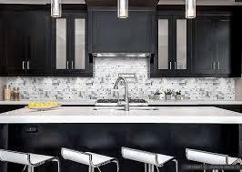 Modern White Glass Metal Backsplash Espresso Kitchen Cabinet