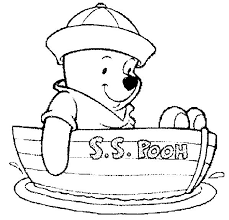 Winnie The Pooh In Boat Free Colouring Page Easy To Print