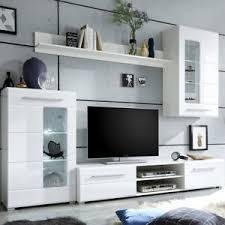 details zu wohnwand mediawand anbauwand enrique 1 wohnzimmer front weiß hochglanz led