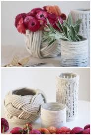 6 Crochet Vases Rope DIY