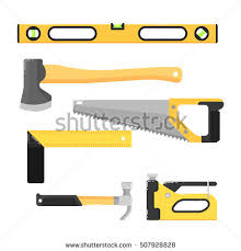 Building Tools Isolated On White Background Vector Illustration Hammer Saw Axe Stapler