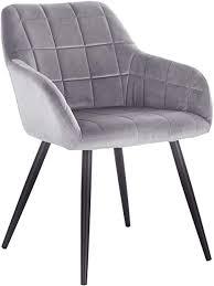 woltu esszimmerstuhl bh93gr 1 1 stück küchenstuhl polsterstuhl wohnzimmerstuhl sessel mit armlehne sitzfläche aus samt metallbeine grau