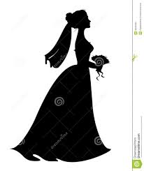 Bride Silhouette With Flowers Clipart