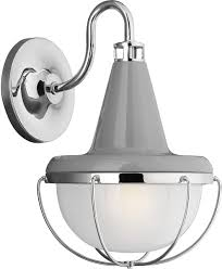 feiss livingston outdoor wall light gray polished nickel