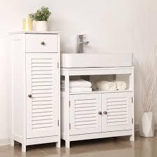 vasagle waschtischunterschrank mit lamellentüren badschrank weiß aus holz 60 x 60 x 30 cm unterschrank ohne waschbecken bbc02wt