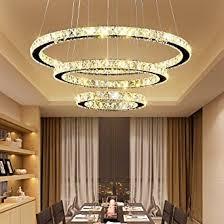 hengda pendelle deckenle mit 3 led ring kronleuchter ring leuchte 96w dimmbar lichtfarben wechselbar rund kristall für esszimmer küche