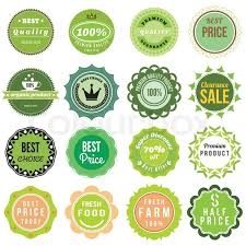 Fresh Food Product Vintage Labels Template Set Green Theme Retro Badge Logo Design Vector