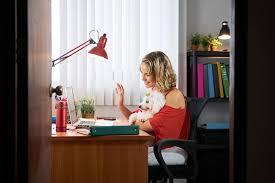 skype de bureau femme de bureau tenant le chien pendant la conférence téléphonique